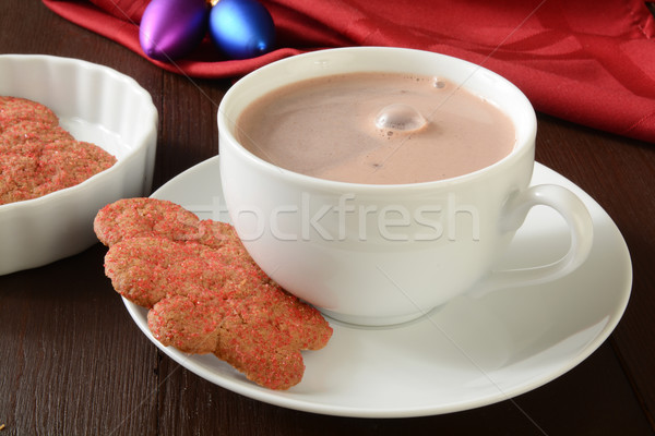 Natal chocolate quente copo pão de especiarias bolinhos chocolate Foto stock © MSPhotographic