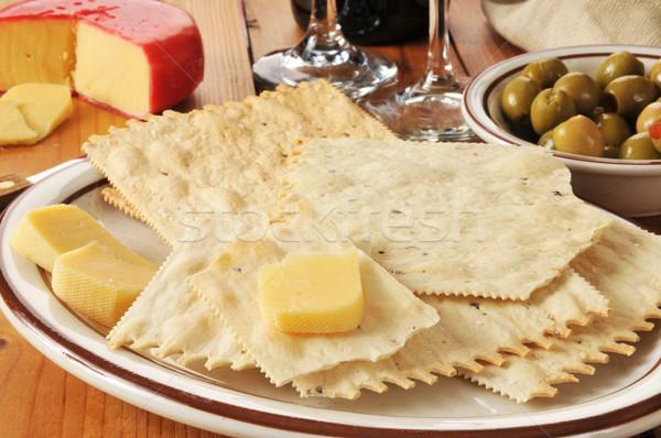 Flatbread crackers and gouda cheese Stock photo © MSPhotographic