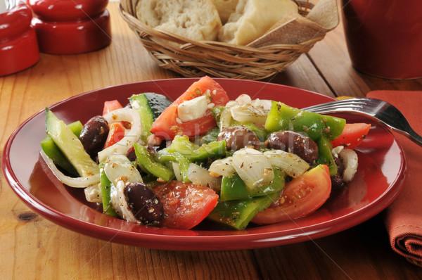 греческий Салат растительное оливками помидоров Сток-фото © MSPhotographic