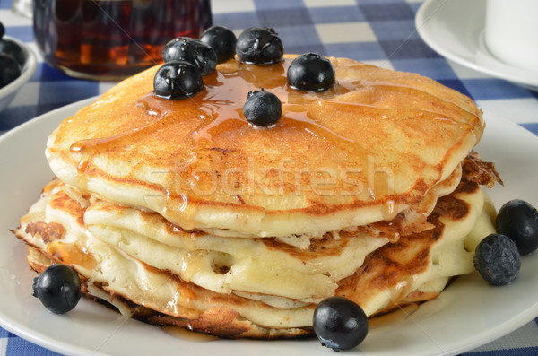 Blueberry pancakes on a picnic table Stock photo © MSPhotographic