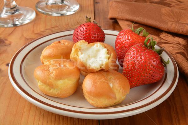 Cream puffs with strawberries Stock photo © MSPhotographic
