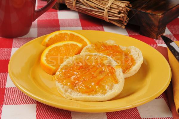 English muffins with orange marmalade Stock photo © MSPhotographic
