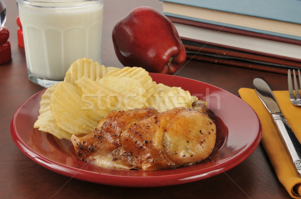 Roasted chicken thigh and potato chips Stock photo © MSPhotographic