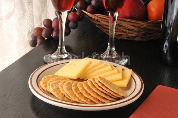 Smoked Gouda Cheese with Crackers Stock photo © MSPhotographic