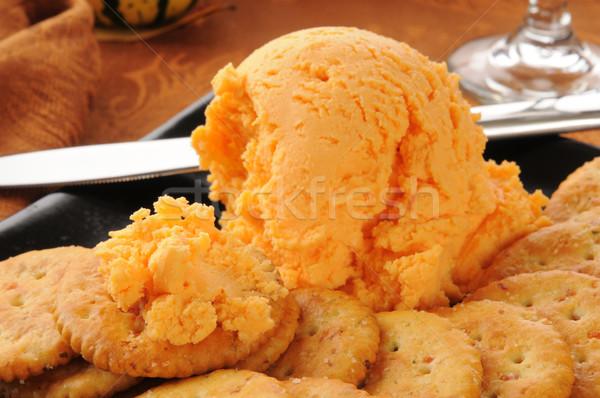 Cheddar cheese ball closeup Stock photo © MSPhotographic
