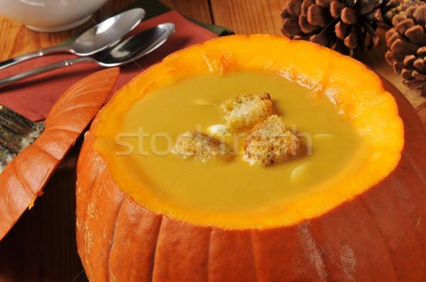 Сток-фото: сквош · суп · служивший · тыква · праздник · таблице