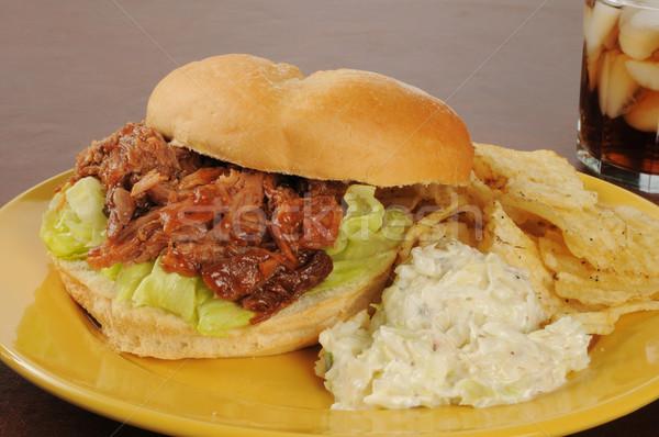 барбекю свинина сэндвич капустный салат картофельные чипсы обеда Сток-фото © MSPhotographic