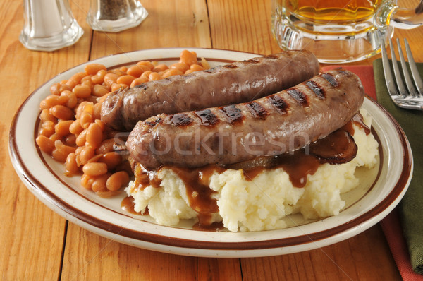 Bangers and mash with baked beans Stock photo © MSPhotographic