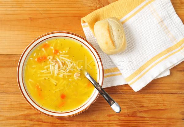 Stok fotoğraf: Tavuk · çorba · çanak · akşam · yemeği · rulo