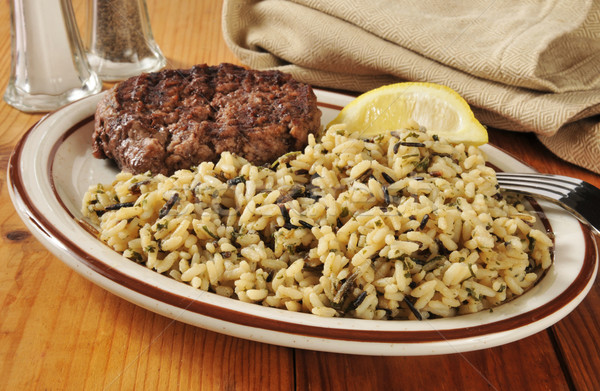 Grilled sirloin and wild rice Stock photo © MSPhotographic