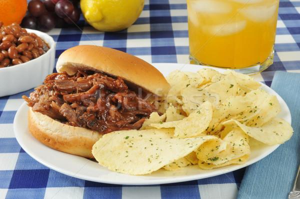 Barbecue rundvlees sandwich chips gebakken bonen Stockfoto © MSPhotographic