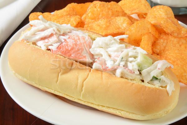 Tengeri hal szendvics rák saláta tengeralattjáró cheddar Stock fotó © MSPhotographic