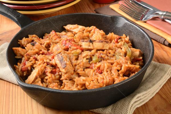 Chicken fajita with rice Stock photo © MSPhotographic