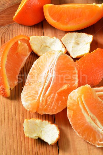 Oranje foto organisch rustiek houten tafel vruchten Stockfoto © MSPhotographic