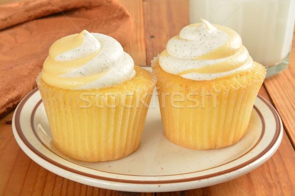 Barack minitorták kettő üveg tej torta Stock fotó © MSPhotographic