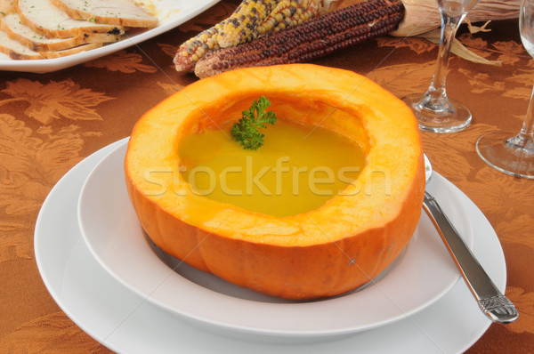 Butternut squash soup and turkey Stock photo © MSPhotographic
