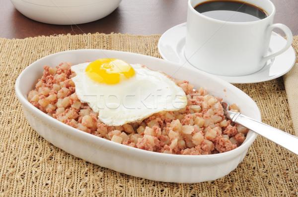 Carne ovo frito tigela café beber café da manhã Foto stock © MSPhotographic