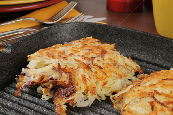 Latkes in a cast iron skillet Stock photo © MSPhotographic