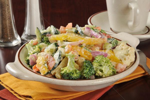 Caesar salade gezonde plantaardige salade caesar dressing Stockfoto © MSPhotographic