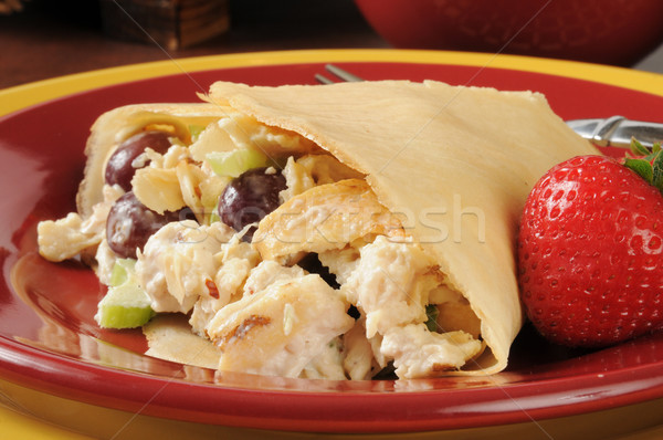Salada de frango crepe uvas morangos comida Foto stock © MSPhotographic