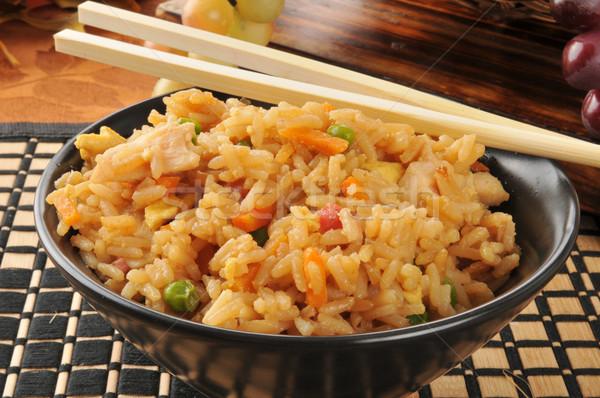 Kínai étel édes fanyar tyúk evőpálcikák rizs Stock fotó © MSPhotographic
