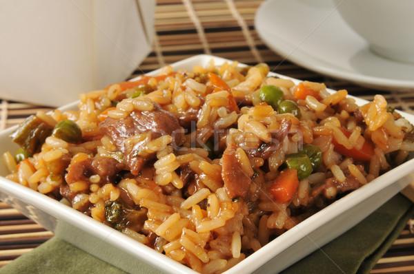 Boeuf poivre steak frit riz légumes Photo stock © MSPhotographic