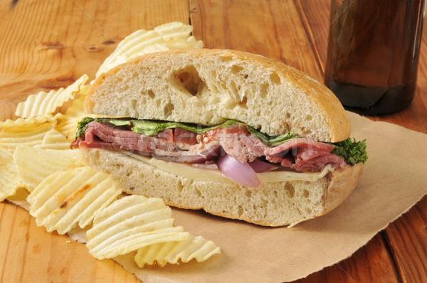 Roast beef sandwich and beer Stock photo © MSPhotographic