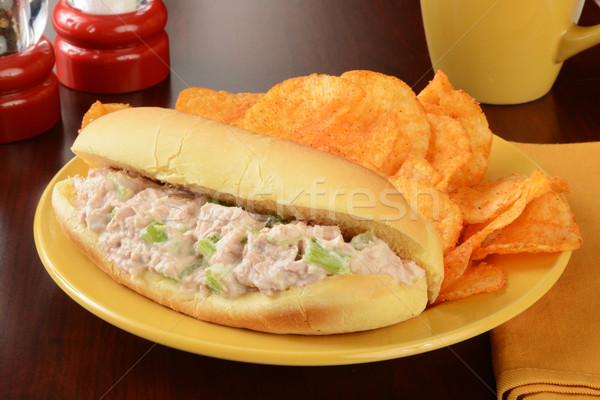 Tuna sandwich with chips Stock photo © MSPhotographic