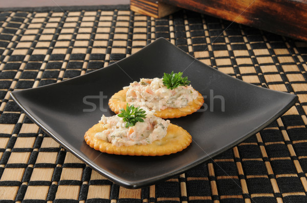 Crackers with smoked salmon dip Stock photo © MSPhotographic