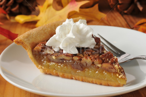 Pecan pie with whipped cream Stock photo © MSPhotographic