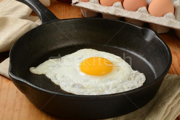 Sahanda yumurta kahverengi yumurta gıda Stok fotoğraf © MSPhotographic