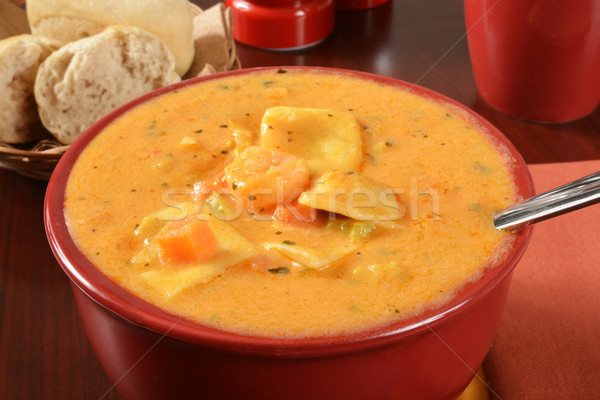 Seafood bisque with ravioli Stock photo © MSPhotographic