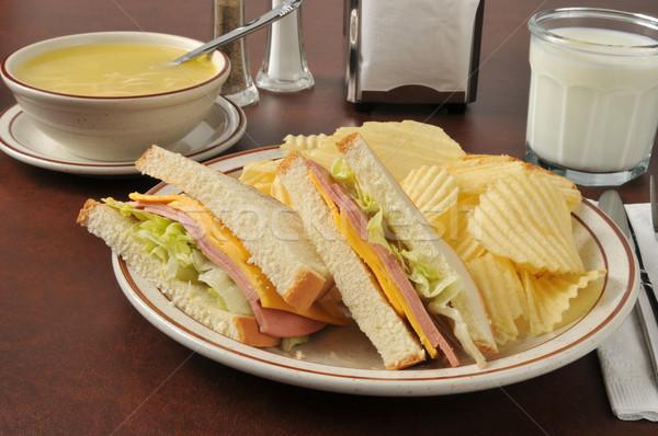 Stok fotoğraf: Sandviç · tavuk · çorba · peynir · gıda