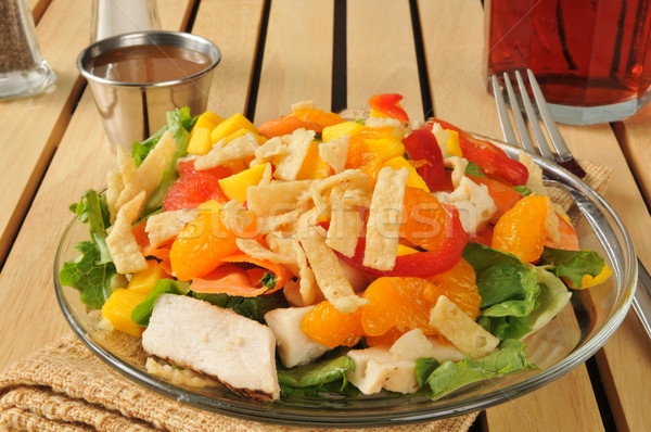 Salad with tropical fruit and chicken Stock photo © MSPhotographic