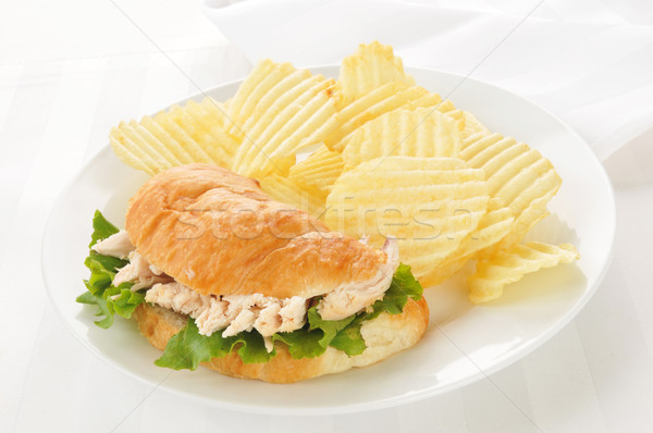 Chicken sandwich on a croissant Stock photo © MSPhotographic