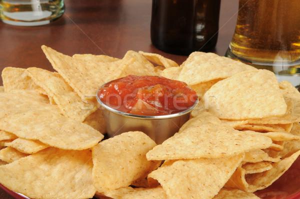 Tortilla chipy salsa tablicy piwa Zdjęcia stock © MSPhotographic