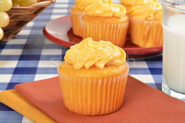 Melk mango glas picknicktafel Stockfoto © MSPhotographic