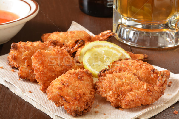 Coconut shrimp and beer Stock photo © MSPhotographic