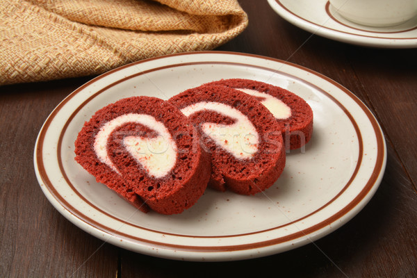 Red velvet cake roll Stock photo © MSPhotographic