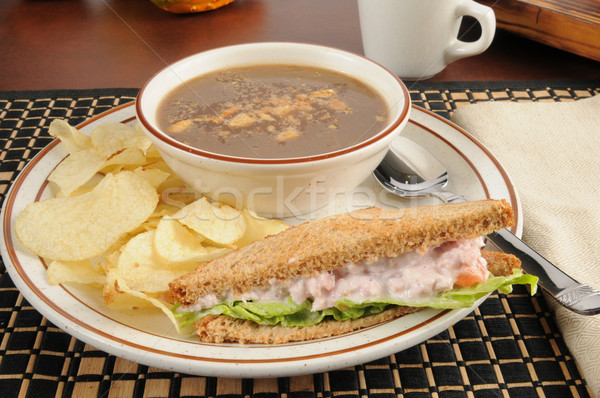 Ham salad sandwich with onion soup Stock photo © MSPhotographic