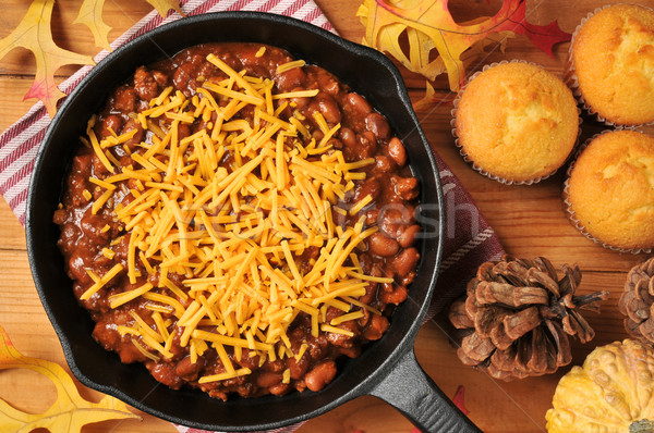 Chili with cheese in a cast iron skillet Stock photo © MSPhotographic