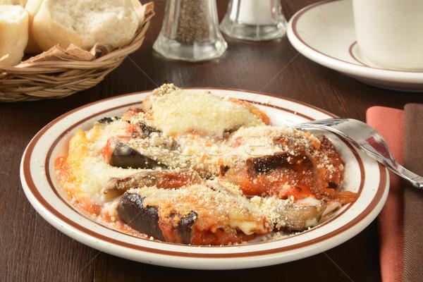 Padlizsán közelkép tányér vacsora tekercsek sajt Stock fotó © MSPhotographic