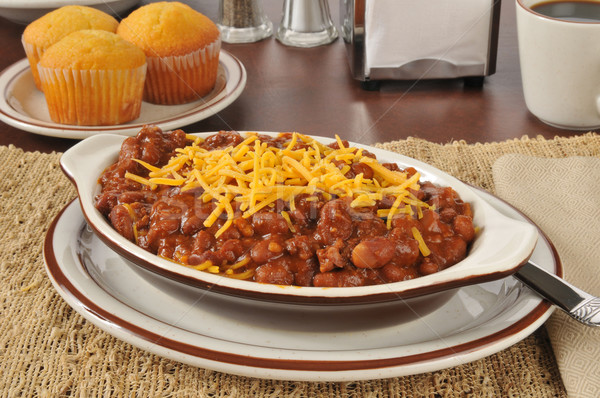 Chili con carne with cheese Stock photo © MSPhotographic