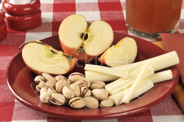 Stok fotoğraf: Sağlıklı · dizi · peynir · elma · cam