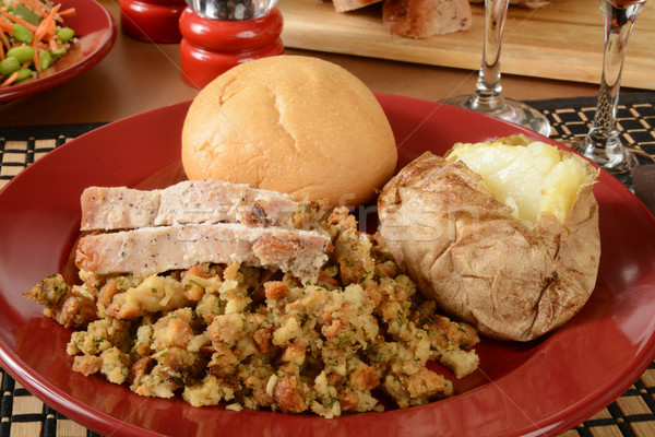 Turquie dîner tranches farce de pomme de terre Photo stock © MSPhotographic