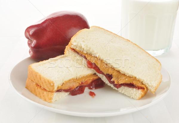 Foto d'archivio: Burro · di · arachidi · gelatina · sandwich · fragola · jam · mela