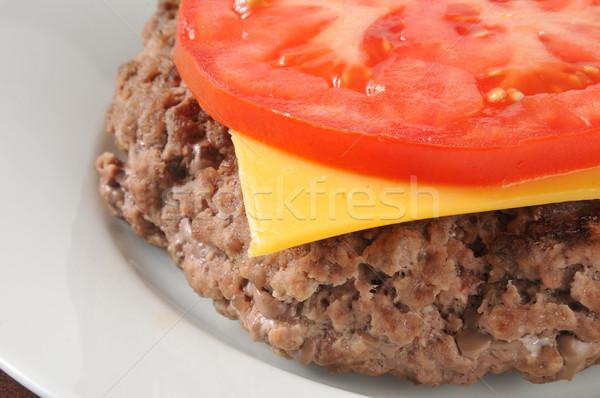 Hamburger kaas tomaat grond lendenen Stockfoto © MSPhotographic