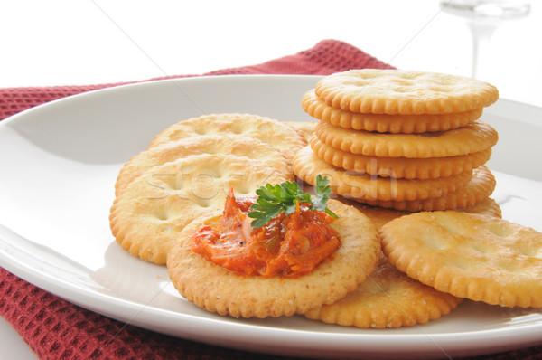 Bruschetta peper tarwe voedsel brood kleur Stockfoto © MSPhotographic