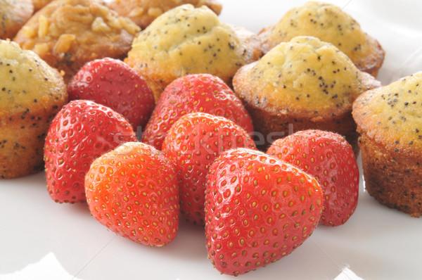 Fresh strawberries with muffins Stock photo © MSPhotographic