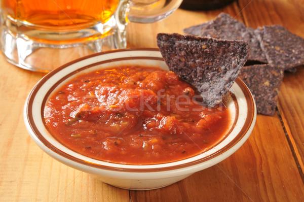 Tortilla cips salsa mavi mısır şişe Stok fotoğraf © MSPhotographic
